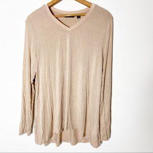 H By Halston Brown Cream Long Sleeve Top Shirt